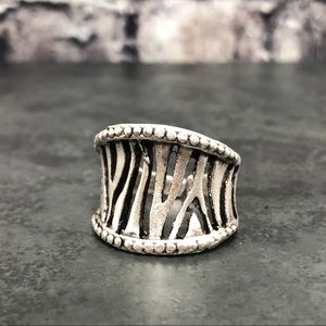 NEW Turkish Giraffe Print Silver-tone Ring